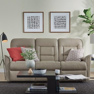 Contemporary Small Scale Power Reclining Sofa with Power Headrests and USB Ports