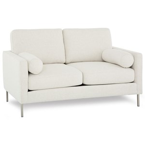 Contemporary Loveseat with  2 Round Bolster Pillows