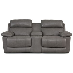 Casual Reclining Console Loveseat with Pillow Arms