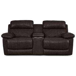 Casual Power Headrest Reclining Console Loveseat with USB Ports