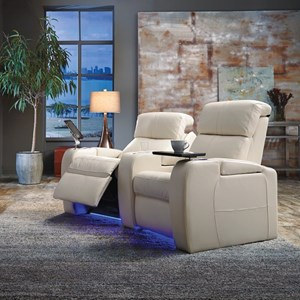 Home Theater Sectional with Power Headrests, LED Cup Holders, and Two Seats