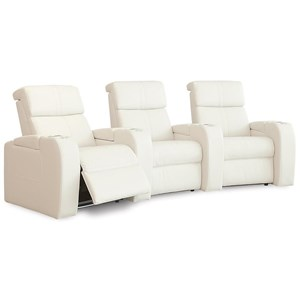 Home Theater Sectional with Power Headrests, LED Cup Holders, and Three Seats