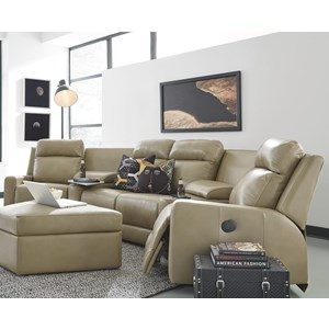 4-Seat Power Reclining Sectional Sofa with Cupholder Storage Consoles