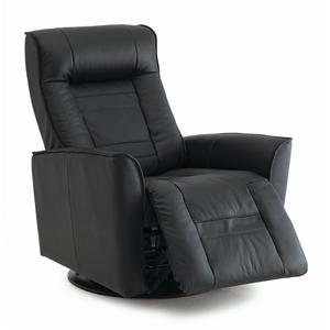 Contemporary Rocker Recliner with Flared Arms and Defined Headrest