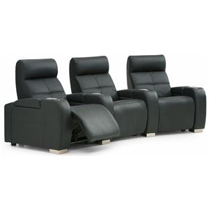 Contemporary 3-Person Manual Theater Seating with Cupholders and Headrests