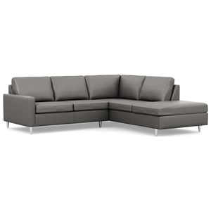 Contemporary Loveseat and Chaise with Narrow Track Arms and High Legs