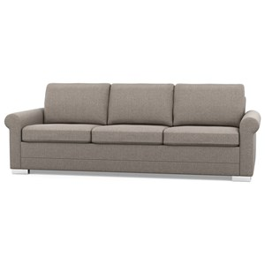 Contemporary Sofa with Rolled Arms and Low Legs