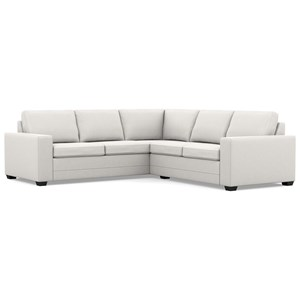 Contemporary Sectional Sofa with Wide Track Arms and Low Legs