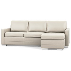 Contemporary Sofa with Chaise and Narrow Track Arms