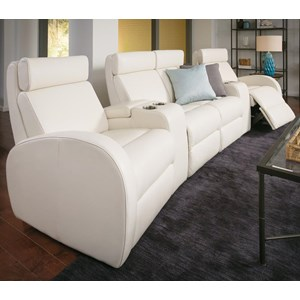 4-Seat Power Reclining Home Theater Set with Cupholders and Storage Consoles