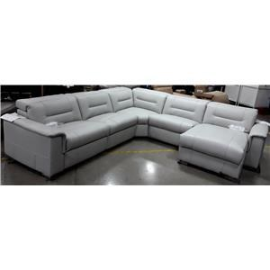 5 PC Leather Power Motion Chaise Sectional