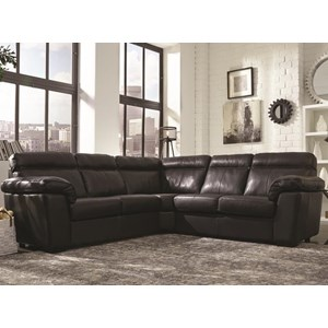 Casual 3 Piece Sectional with Pillow Arms