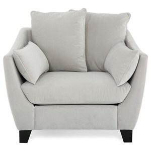 Transitional Chair with Flared Arms and Pillows