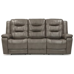 Casual Power Reclining Sofa with Power Headrest and Power Lumbar