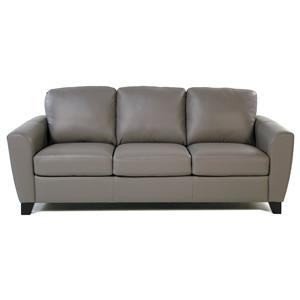 Contemporary Leather Sofa with Flair-Tapered Arms