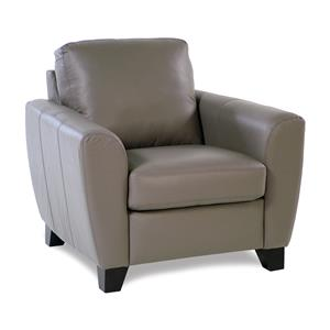 Contemporary Leather Chair with Flair-Tapered Arms