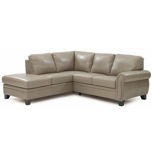 Two Piece Sectional Sofa with Rolled Panel Arms and Corner Chaise
