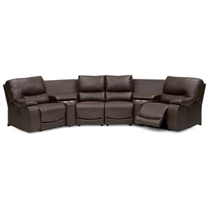 Casual Reclining Sectional with Storage and Cupholders