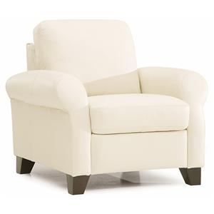 Transitional Chair with Sock Arms and Wood Legs