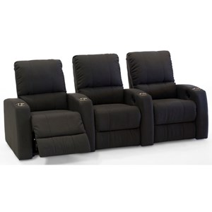 3-Seat Reclining Theater Seating with Cupholders
