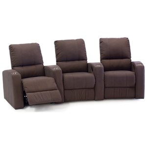 3-Seat Curved Theater Seating with Cupholders