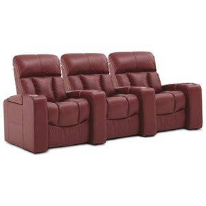 3-Seat Power Reclining Home Theater Sectional with Power Headrests, USB Ports, and Color-Changing LED Lighting