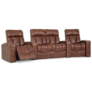 4-Seat Power Reclining Home Theater Set with Power Headrests, USB Ports, and Color-Changing LED Lighting