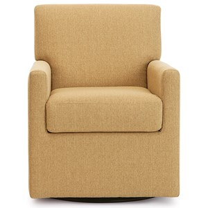 Contemporary Swivel Chair with Track Arms