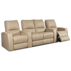 4 Person Manual Theater Seating with In-Arm Storage and Cupholders