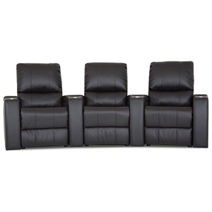3 Person Manual Theater Seating with In-Arm Storage and Cupholders