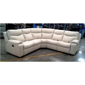 5 Piece Leather Motion Reclining Sectional Tulsa Bisque