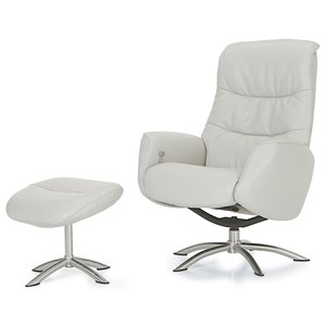 Contemporary Reclining Chair and Ottoman with Chrome Bases