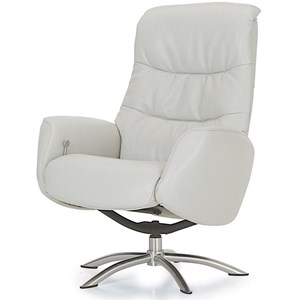 Contemporary Reclining Chair with Chrome Swivel Base