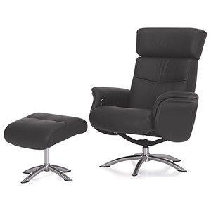 Contemporary Reclining Chair with Swivel Base and Ottoman