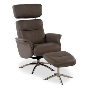 Contemporary Leather Reclining Chair w/ Swivel Base and Ottoman
