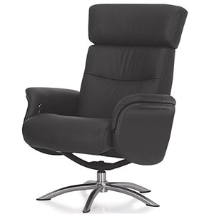 Contemporary Reclining Chair with Swivel Base and Adjustable Headrest