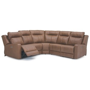 Contemporary 5-Piece Power Reclining Sectional with Power Headrest