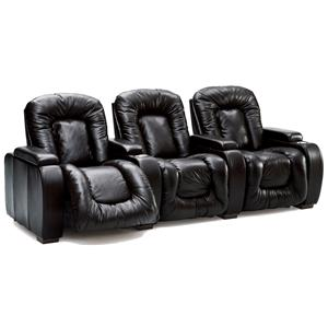 Three Person Home Theater Recliner with Manual and Power Lifts