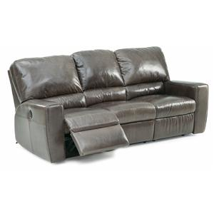 Contemporary Double Reclining Sofa with Track Arms