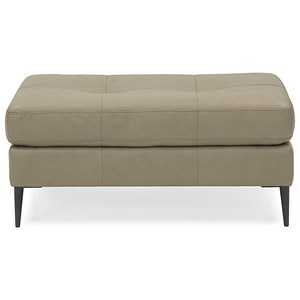 Contemporary Cocktail Ottoman with Tapered Legs