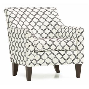 Contemporary Accent Chair with Flair Tapered Arms and Rolled Back
