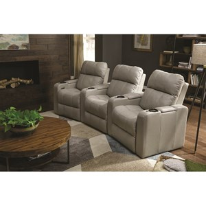 Casual Triple Power Headrest Theater Recliner with Storage and USB Charging