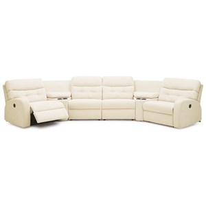 Transitional Manual Reclining Sectional with Storage and Cupholders