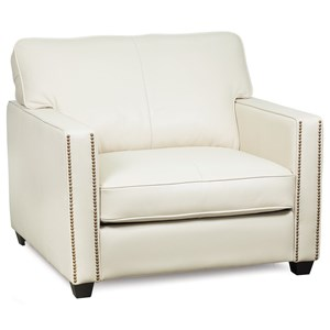 Contemporary Chair with Track Arms and Nailhead Trim