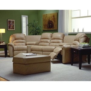 Casual Sectional Sofa Recliner with Cupholders and Storage