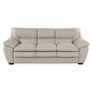 Casual Leather Sofa w/ Pillow Arms