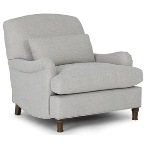 Transitional Accent Chair with Solid Wood Legs