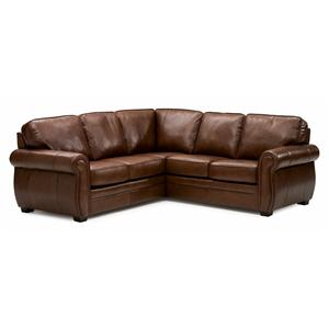 Leather Sectional Sofa with Rolled Arms