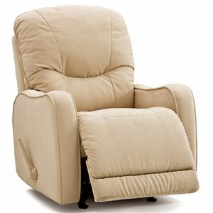 Casual Swivel Rocker Recliner with Sloped Track Arms