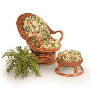 Palm Springs Rattan Bali  Chair and Ottoman
